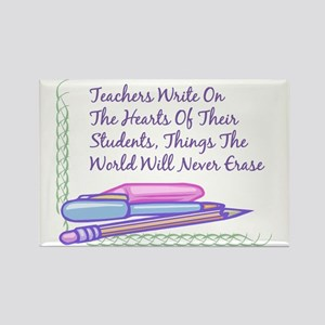 Teachers Write On The Hearts. Rectangle Magnet