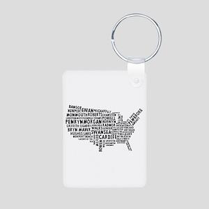 USA Map of Welsh Place Names Aluminum Photo Keycha