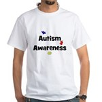 Autism Awareness (black) White T-Shirt