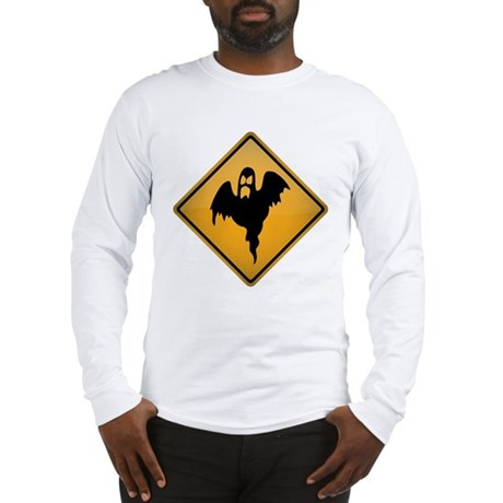 Ghost Warning Sign Long Sleeve T-Shirt