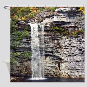 Scenic Rocky Waterfall Shower Curtain