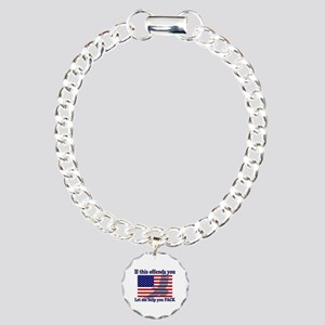 Flag Eagle Patriot Charm Bracelet, One Charm