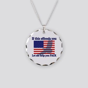 Flag Eagle Patriot Necklace Circle Charm