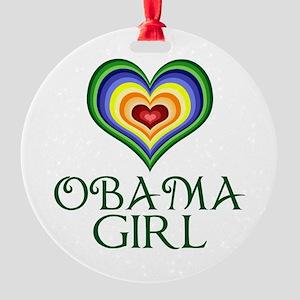 Obama Girl Round Ornament