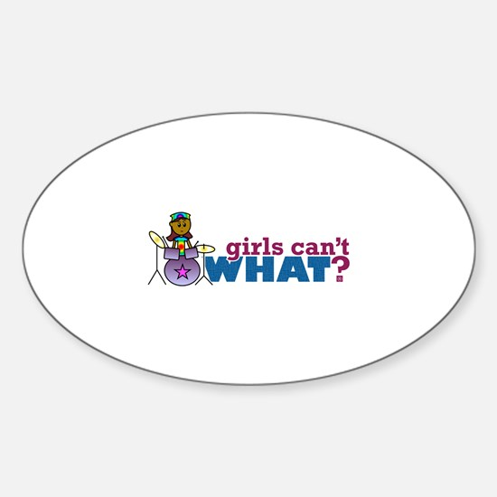 Girl Drumming Sticker (Oval)