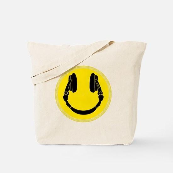 DJ Smiley Headphone Platter Tote Bag