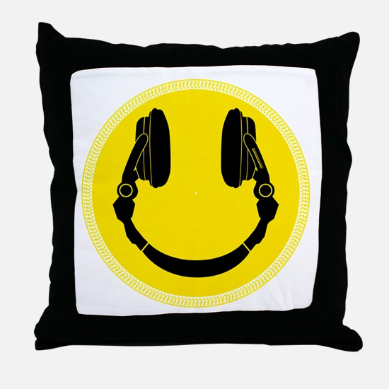 DJ Smiley Headphone Platter Throw Pillow
