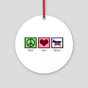 Peace Love Obama Ornament (Round)