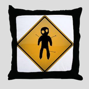 Voodoo Warning Sign Throw Pillow