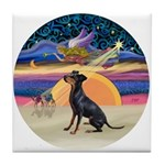 XmasAngel-Manchester Terrier Tile Coaster