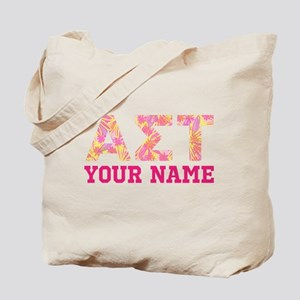 Alpha Sigma Tau Yellow Pink Letters Perso Tote Bag