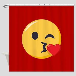 Kissing Emoji Shower Curtain