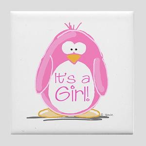 It is a Girl Penguin Tile Coaster