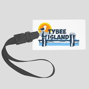 Tybee Island GA - Pier Design. Large Luggage Tag