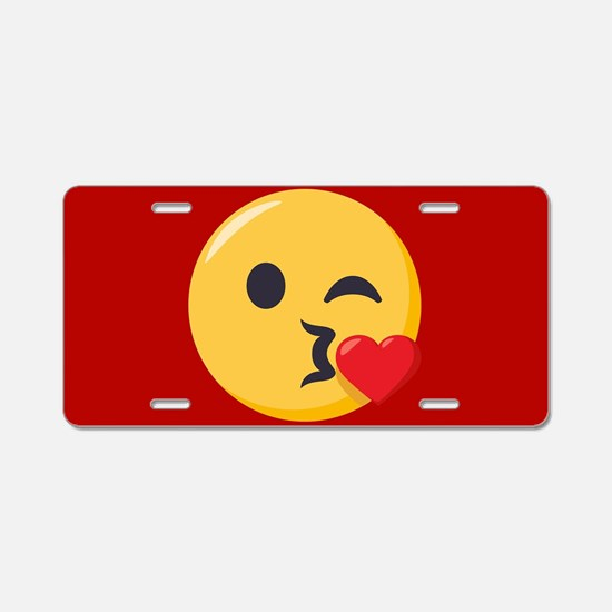 Kissing Emoji Aluminum License Plate