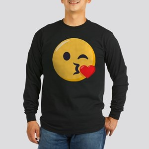 Kissing Emoji Long Sleeve Dark T-Shirt