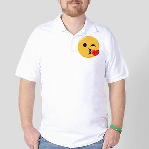 Kissing Emoji Golf Shirt