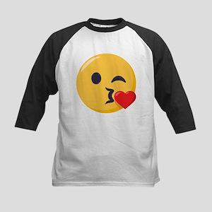 Kissing Emoji Kids Baseball Tee