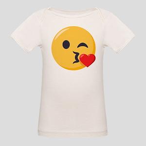 Kissing Emoji Organic Baby T-Shirt