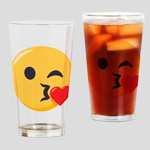 Kissing Emoji Drinking Glass