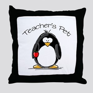 Teachers Pet Penguin Throw Pillow