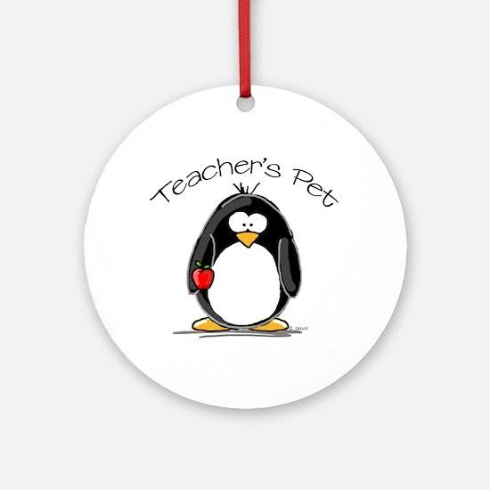 Teachers Pet Penguin Ornament (Round)