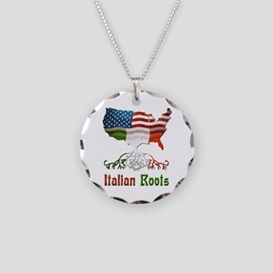 American Italian Roots Necklace Circle Charm