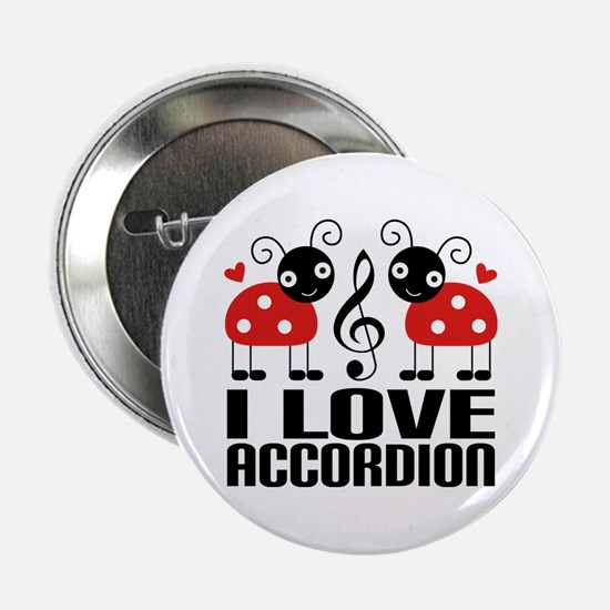 "I Love Accordion Ladybug 2.25"" Button"