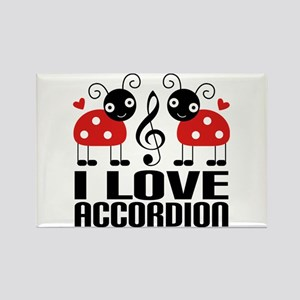 I Love Accordion Ladybug Rectangle Magnet