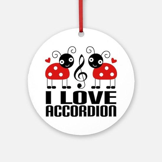 I Love Accordion Ladybug Ornament (Round)