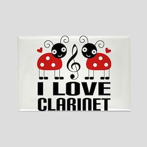 I Love Clarinet Ladybug Rectangle Magnet