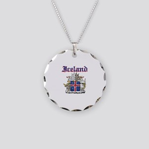 Iceland Coat of arms Necklace Circle Charm