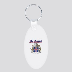 Iceland Coat of arms Aluminum Oval Keychain
