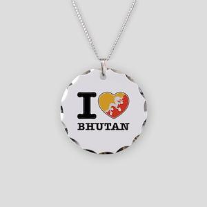 I heart Bhutan Necklace Circle Charm