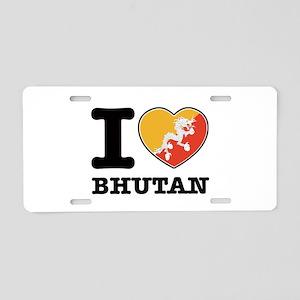 I heart Bhutan Aluminum License Plate