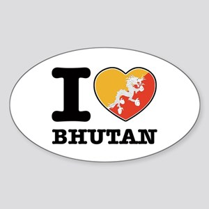 I heart Bhutan Sticker (Oval)