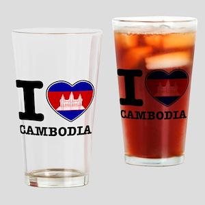 I heart Cambodia Drinking Glass