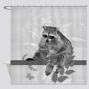 Raccoon In Tree Shower Curtain