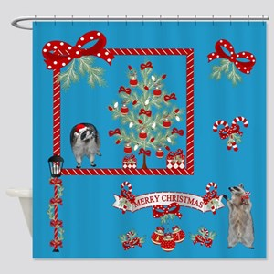 Christmas Raccoon Shower Curtain