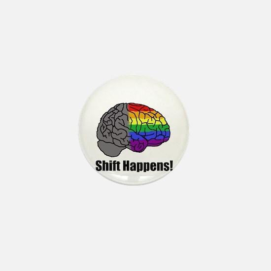Shift Happens! Blk - Brain Mini Button