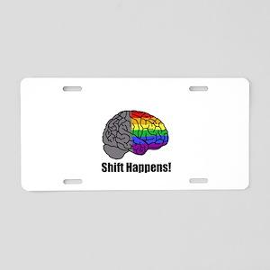 Shift Happens! Blk - Brain Aluminum License Plate