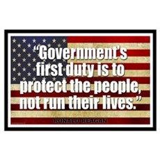 REAGAN: Government's first duty... QUOTE Small Pos Framed Print