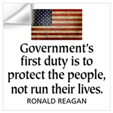 REAGAN: Government's first duty... QUOTE Framed Pa Wall Decal