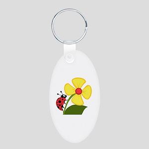 Ladybug Aluminum Oval Keychain
