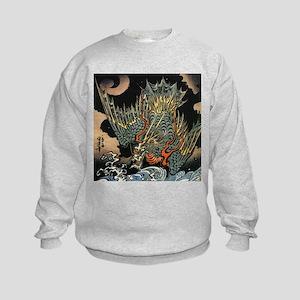 Vintage Hokusai Dragon Kids Sweatshirt