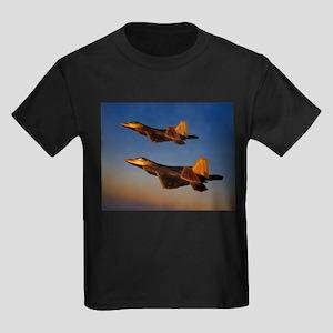 Two F/A-22 Raptors. Kids Dark T-Shirt
