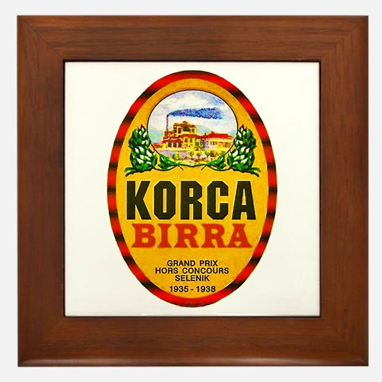 Albania Beer Label 1 Framed Tile