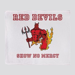 Red Devils Show No Mercy Throw Blanket