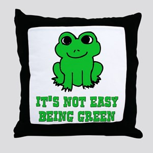Not Easy Being Green Frog Throw Pillow