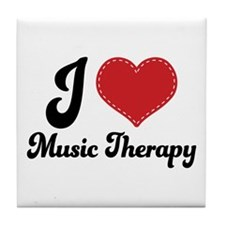 I Heart Music Therapy Tile Coaster